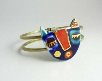 Gold cat - ceramic bracelet.