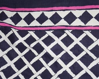 Border  Linen Cotton Blend  Fabric Abstract Blocks Black  BTY