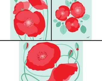 Set of 3 - poppy art print, poppy print, red poppy print, red Wall Art Print, Floral Wall Art, Floral Print, 8 x 10, botanical illustration