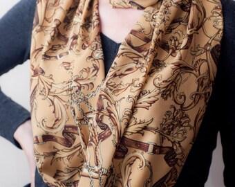 Beige Brown Infinity Scarf Circle Scarf Belt Print Vintage Inspired Loop Scarf  Elegant Classic Eternity Scarf Equestrian Style Long Scarves
