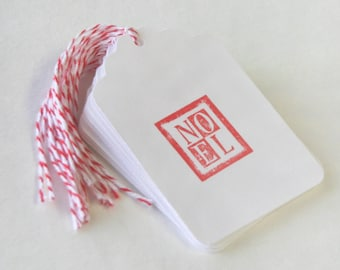 Noel Tag Set 10 Blank holiday gift present tag bakers twine red