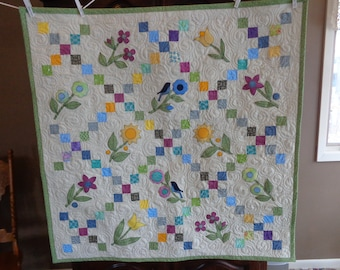 Irish Chain with Bluebirds and Flowers, Country Decorator quilt 0311-01