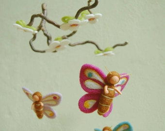 Butterfly mobile - felted, waldorf inspired, by Naturechild
