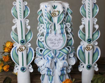 Custom color - Personalized Wedding Unity Candle Set - Wedding ideas - Unity candle - Wedding candles - White candles