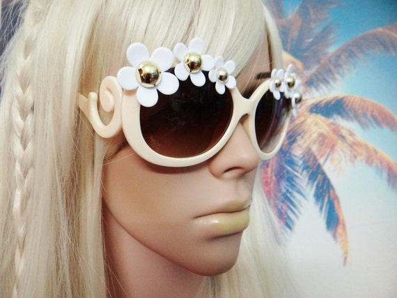 Flower Sunnies Sunglasses Sun Glasses Daisy Hippie Boho Festival Hippies Hippy Flower Power Round Aviators Mermaid Peace Wayfarers