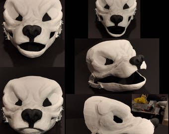 Snarly wolf canine resin blank for fursuits, animal costumes, and more