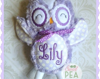 Personalized Owl Stuffie - Owl Stuffed animal - Monogram Owl - Baby Stats Owl - Baby Shower Gift - Birthday Gift - New Baby - Siblings Gift