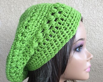 Green Slouchy Beanie, Women's Tam,  Slouchy Beret Hat,  Ladies Hat, Boho Trendy Beanie , One of a Kind