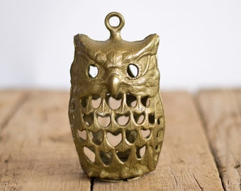 Vintage Brass Owl Candleholder, Solid Brass owl Hanging Candle Lantern, Collectibles, Bird Ornament, Home Decor