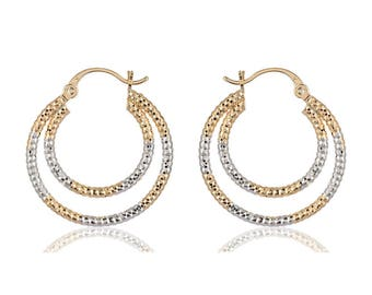 Double ring hoop silver and gold fusion earrings