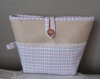"Pouch ""raffia"" canvas and cotton lined notebook"
