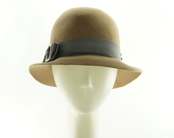 Tan Fedora Hat for Women, Womens Winter Hat, Felt Hat  Vintage Style Womens Hat, Gift for Her, Winter Hat, Womens Hat, Ladies Hat, Fedoras