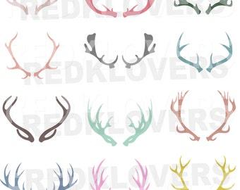 SVG DXF Deer Antlers, Horns Digital Download files svg , ai, psd, png,  pdf tshirt designs