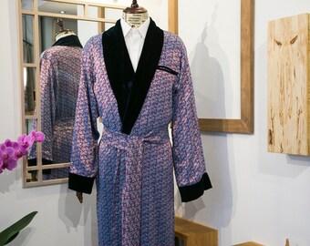 New Silk Mens Smocking Jacket, Sleeping Gown, House Coat, Wedding or Christmas Gift.
