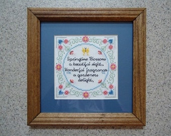 A  Gardener's  Delight - Floral Cross Stitch Picture - Wall Decor