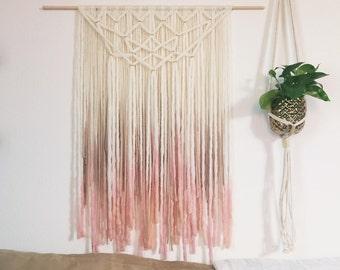 Blush and Gold Yarn Wallhanging, Bohemian tapestry, dip-dyed fiber art
