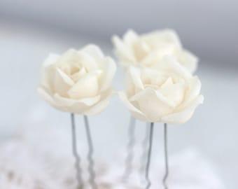 71 Fabric flower pin, Fabric flower hair, Fabric flower bride, Bridal hair accessories, Ivory fabric flower, Flower pins, Hair pins, Wedding