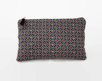 """flat pouch fabric ethnic style wax """"waves orange dots"""""""
