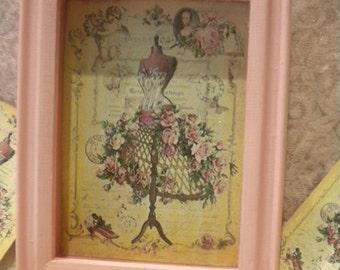 Shabby Chic Wood Shadow Box Vintage Paris Dress Form