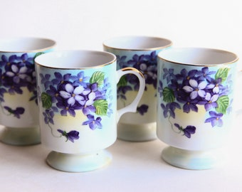 Vintage Porcelain Footed Cups Hand Painted Violets ~ Coffee / Tea / Hot Beverage Cups / Mugs ~ Marked VT 9