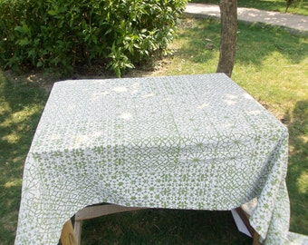 "Green table cloth, geometrical gprint, 1"" hem border, 100% cotton table cloth, sizes available"