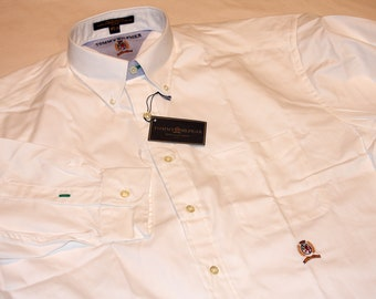 Tommy Hilfiger Eighties Two Ply Pinpoint Crest White 16 - 34 Button up Shirt Vintage 1990s