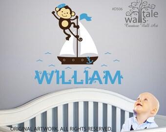Sailor Monkey on boat with custom name wall decal for boys nursery