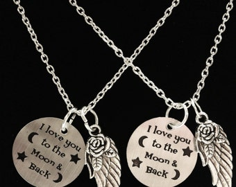 Best Friend Gift, I Love You To The Moon And Back Necklace, Angel Wing Necklace, Best Friend Necklace, Sisters Necklace Set