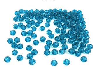 40 faceted 6 mm TURQUOISE color glass beads