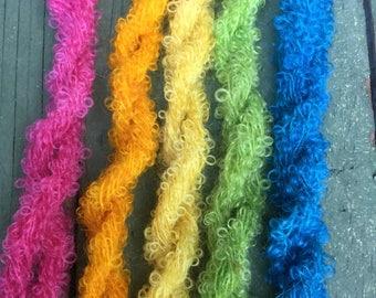 Mini Skeins  Boucle mohair hand dyed knitting crochet supplies wool yarn  Waldorf Doll hair merino baby photo pro