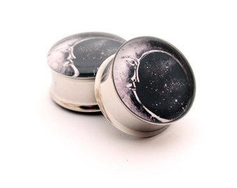 Moon STYLE 2 Picture Plugs gauges - 16g, 14g, 12g, 10g, 8g, 6g, 4g, 2g, 0g, 00g, 1/2, 9/16, 5/8, 3/4, 7/8, 1 inch