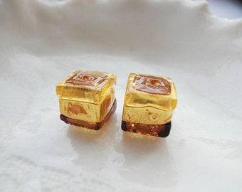 2 Tricolor Venetian Murano Glass Cube  Beads