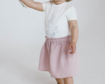 Baby skirt Girl skirt Softened cotton skirt Girl muslin skirt Baby muslin clothes Baby summer outfit Girl summer clothes Girl pink skirt