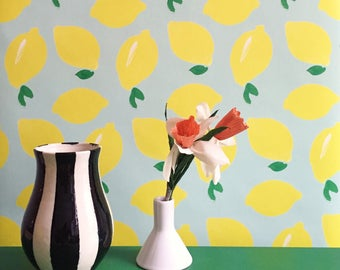 Removable Wallpaper // Lemon Bowl // Assorted Lengths // ADHERES to walls and shelf surfaces