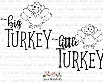 Big Turkey SVG Little Turkey SVG, Sibling Turkey Set, Turkey T-shirt Iron-on, Thanksgiving Iron-on