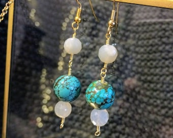 NEW* Wire Wrapped Turquoise and Moonstone Dangle Earrings