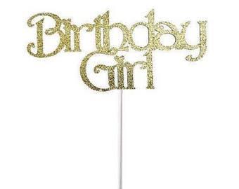 Happy Birthday Cake Topper, Glitter Cake Topper,Happy Birthday Topper, Birthday Party Decor, Gold Glitter Birthday Topper, Celebrate, Topper
