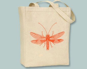 Bright Summer Vintage Bugs 2 on Canvas Tote - Selection of sizes- ANY IMAGE COLOR available