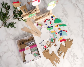Snowman and Reindeer Paper Puppet Craft Kit of 12 for Kids Holiday Gift
