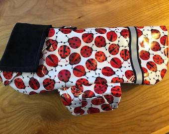 New Lady Bug  print Dog Rain Jacket, Dog Raincoat, Dog Rain Coat, Dog Jacket, Dog Coat, Dog Jackets