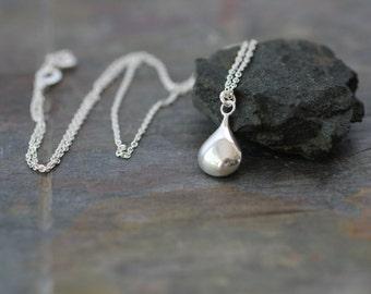 delicate silver necklace, dainty necklace, simple silver necklace, sterling silver, teardrop drop pendant, wedding necklace bridesmaids, N16