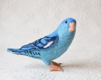 "Mr. Blue Lineolated ""Linnie"" Parakeet, needle felted bird art fiber sculpture"