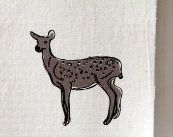 "Screenprint / Linocut print - 5"" x 7"" Oh deer Fabric Print - Tan"