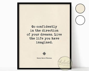 Printable Quote, Quote Prints, Printable Wall Art, Typography Print, Go Confidently in the Direction of your Dreams, Thoreau, Dreams Quote
