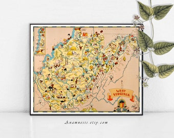 WEST VIRGINIA  MAP - Instant Digital Download -  retro picture map to print & frame - fun on pillows, totes, cards, fabric, clothes and tags