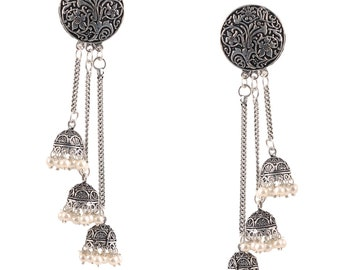 Bollywood Oxidized Silver Plated handmade Long Step by Step Jhumka Jhumki Earrings wedding jewelry for women