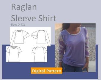 Raglan Shirt - Ladies Sizes, Women Sizes XS, S, M, L, XL, 2XL, 3XL, 4XL, - Downloadable PDF Sewing Pattern, Short Sleeve,  Long Sleeve, Top