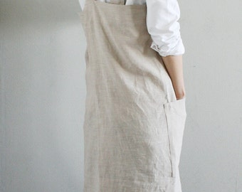 Linen Pinafore Apron,Natural Beige