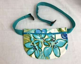 Teal Floral Flat Zipper Fanny Pack, Waist bag, Bum Bag, Hip Pouch, Festival Bag, Waist Purse,