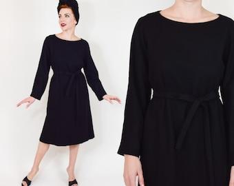 60s Little Black Dress | Wool Shift Dress | Mid Century Dress, Large
